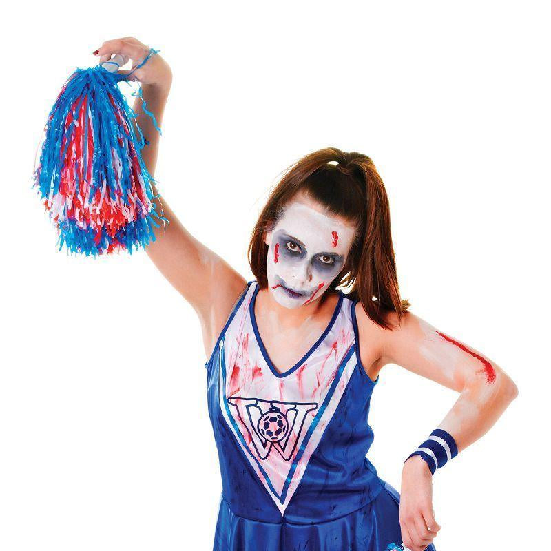 Womens Zombie Cheerleader. Blue/White. Adult Costume- Female - One Size Halloween Costume