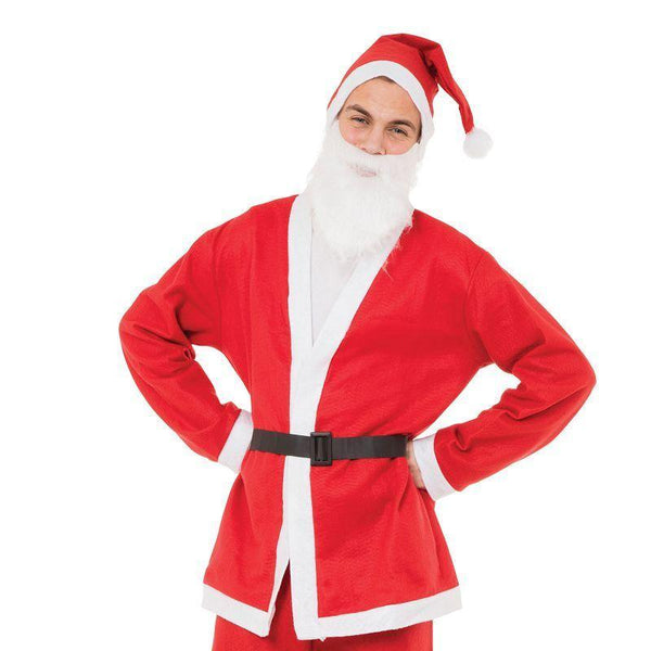 Mens Santa Suit (Budget) 5 Piece Adult Costumes - Male - One Size Halloween Costume