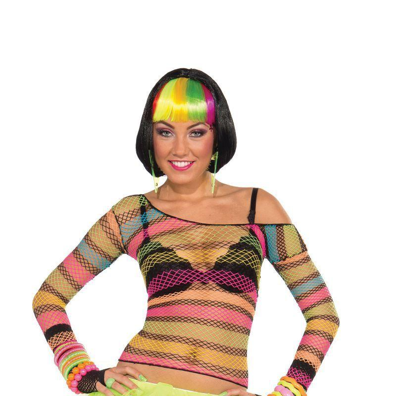 Womens Fishnet Top. Rainbow. Adult Costume- Female - One Size Halloween Costume