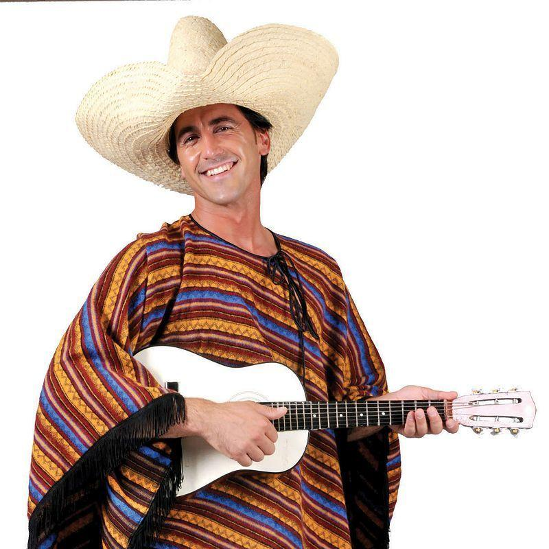 Mens Mexican Poncho Stripey Ff (54) Adult Costume - Male - One Size Halloween Costume
