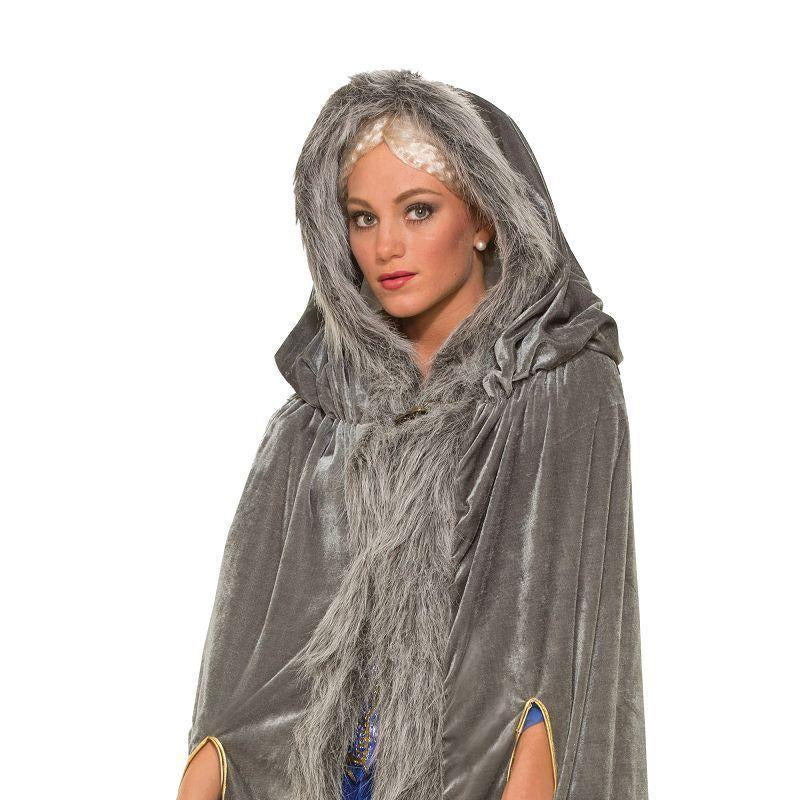 Womens Faux Fur Trimmed Cape Grey. Female (Adult Costumes) - Female - One Size Halloween Costume
