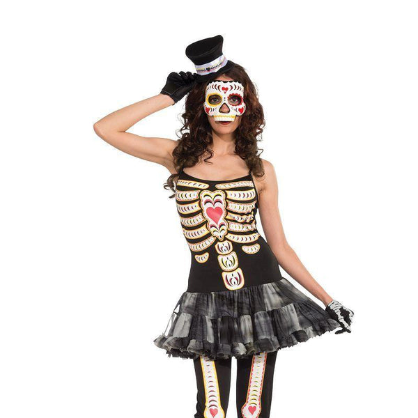 Womens Day Of The Dead Tutu Dress (Adult Costumes) - Female - One Size Halloween Costume