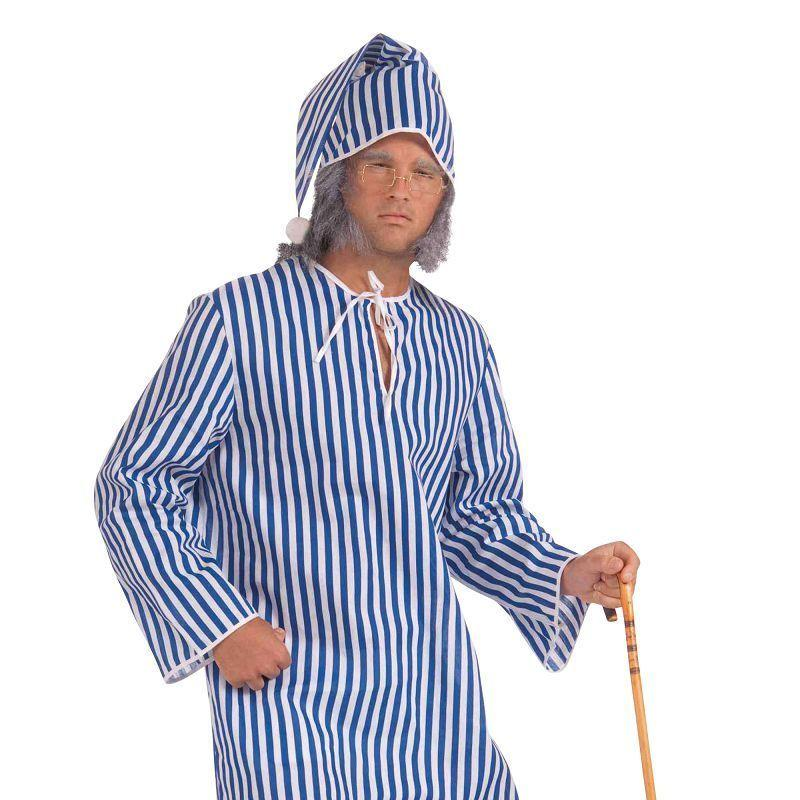 Mens Scrooge Nightshirt + Cap (Adult Costumes) - Male - One Size Halloween Costume