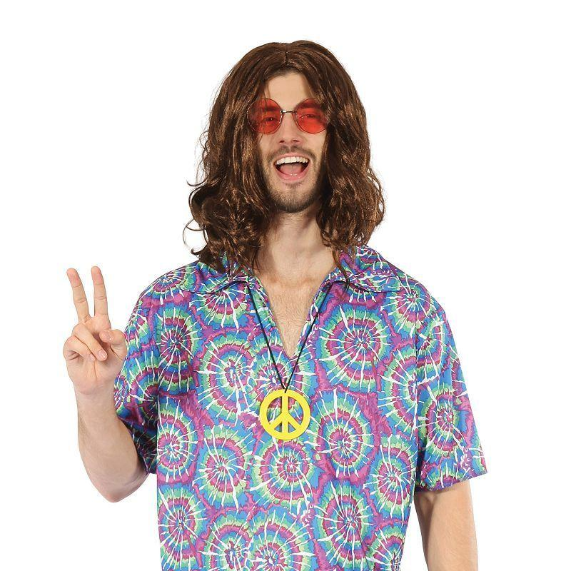 Mens Groovy Psychedellic Top + Necklace( Adult Costumes) - Male - One Size Halloween Costume