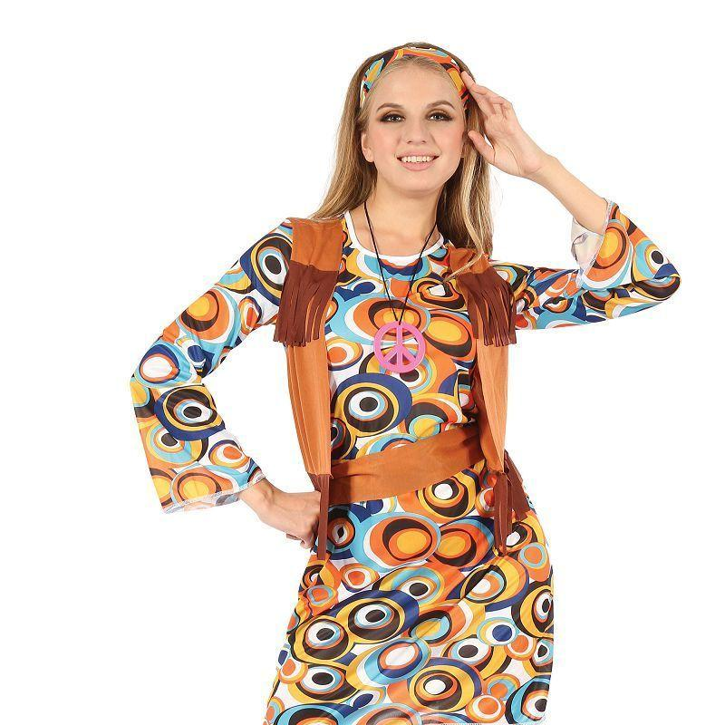 Womens Hippy/Mod Dress with Fringed Vest( Adult Costumes) - Female - One Size Halloween Costume