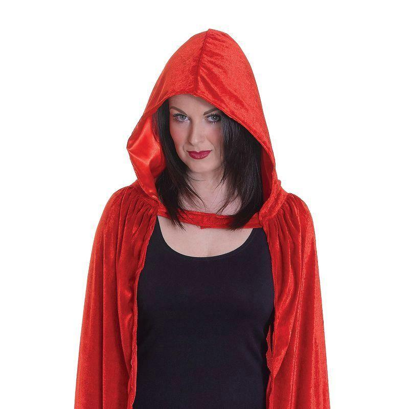 Womens Velvet Red Hooded Cloak( Adult Costumes) - Female - One Size Halloween Costume