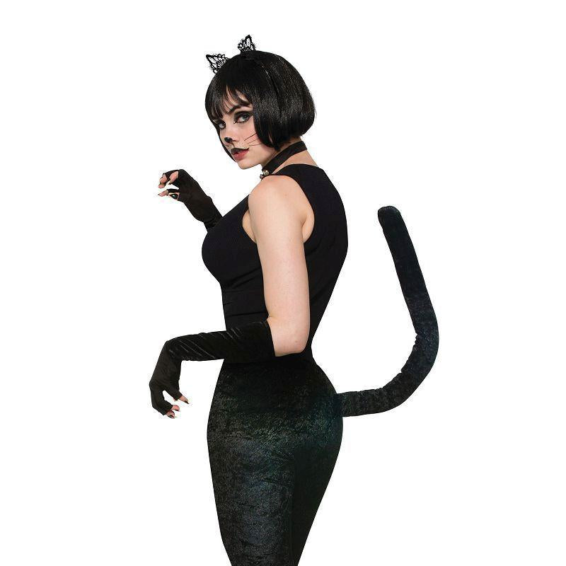 Cat Legging Black w/Tail (Adult Costumes) - Female - One Size Fits Most