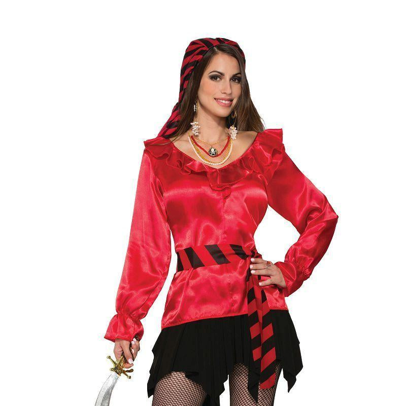 Pirate Lady Red Blouse (Adult Costumes) - UK Size 14/16