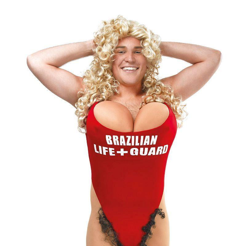 Mens Lifeguard / Hairy Mary Adult Costume - Male - One Size Halloween Costume