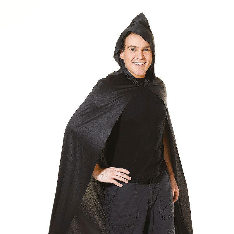 Cape. Long Hooded. Black Adult Costume - Unisex - One Size