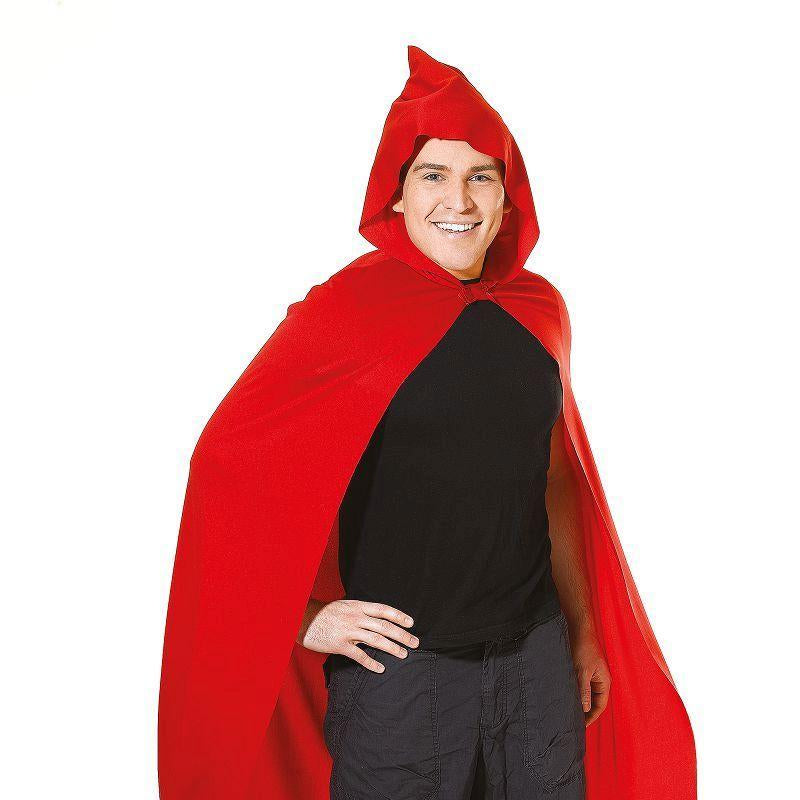 Cape. Long Hooded. Red Adult Costume - Unisex - One Size
