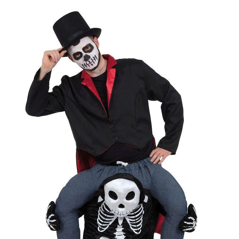 "Skeleton Piggy Back Costume (Adult Costumes) - Fits up waist size 38""/40"""