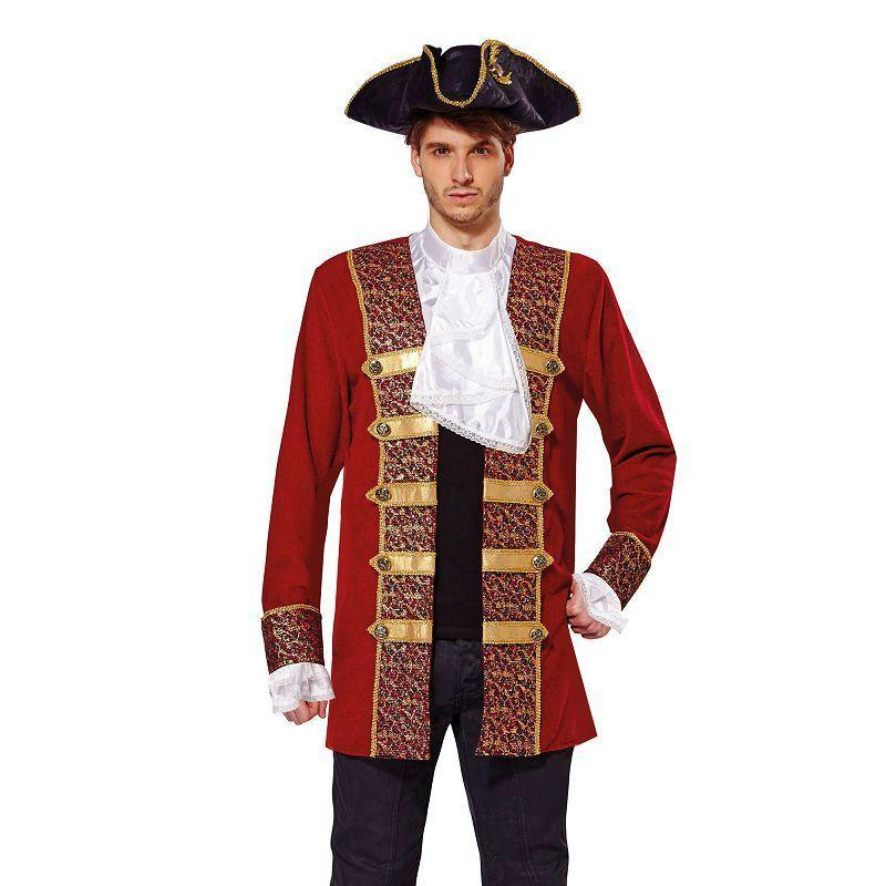 Pirate Coat Red w/Attached Cuffs/Jabot (Adult Costumes) - Chest Size 44""