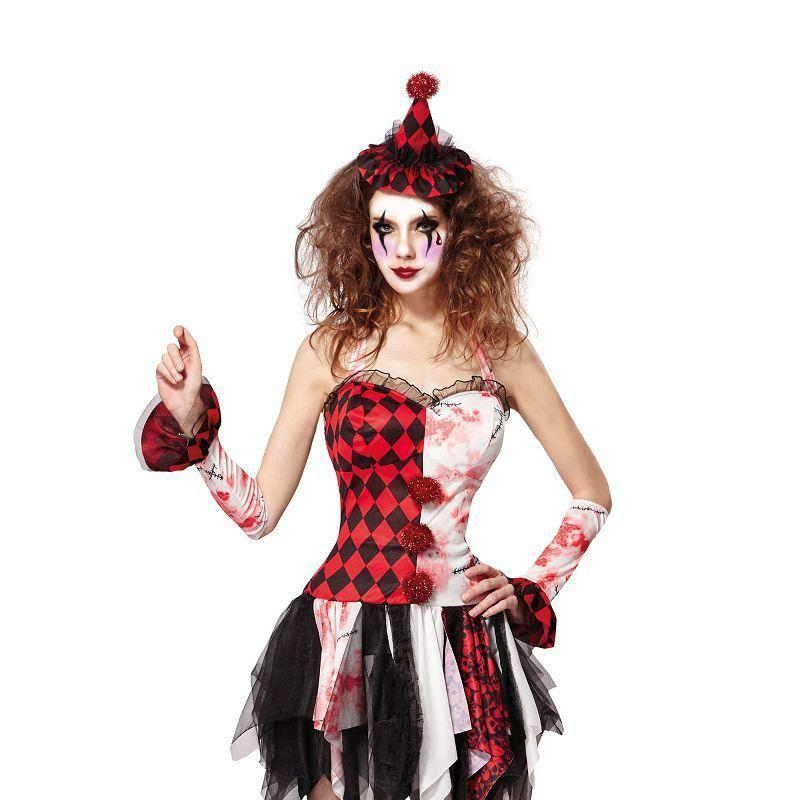 Jester Lady Scary (Adult Costumes) - Female - One Size Fits Most