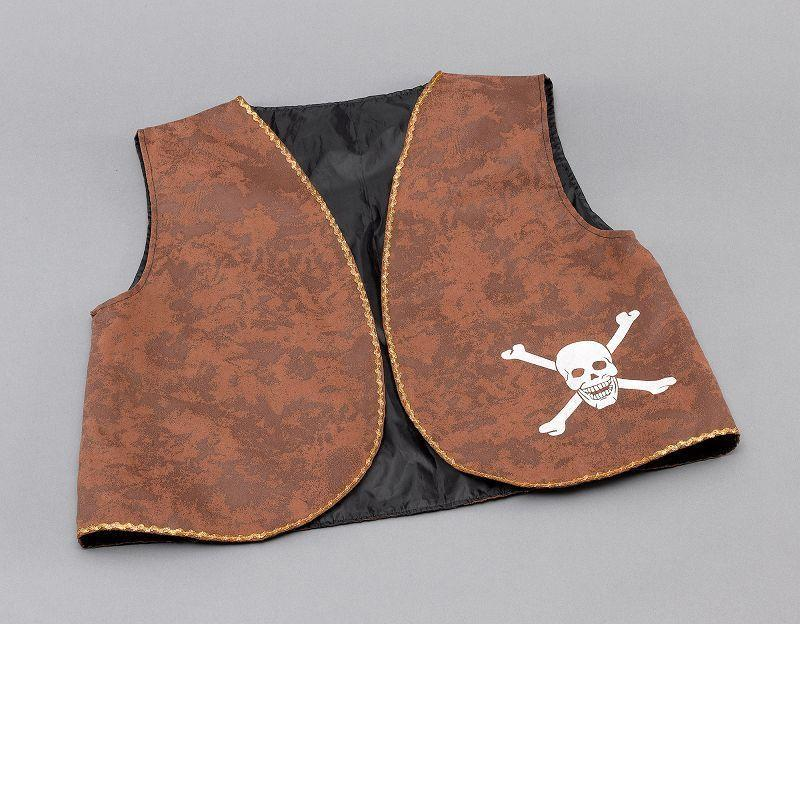 Mens Pirate Waistcoat. Brown Distressed (Costume Accessories) - Male - One Size Halloween Costume