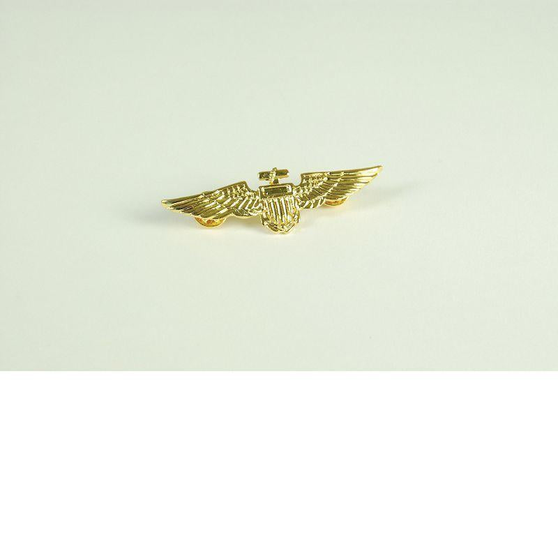 Mens Aviator Pin. Metal / Gold Colour (Costume Accessories) - Male - One Size Halloween Costume