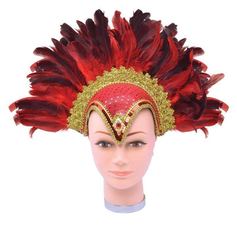 Womens Feather Helmet Red Jewel + Plume (Costume Accessories) - Female - One Size Halloween Costume