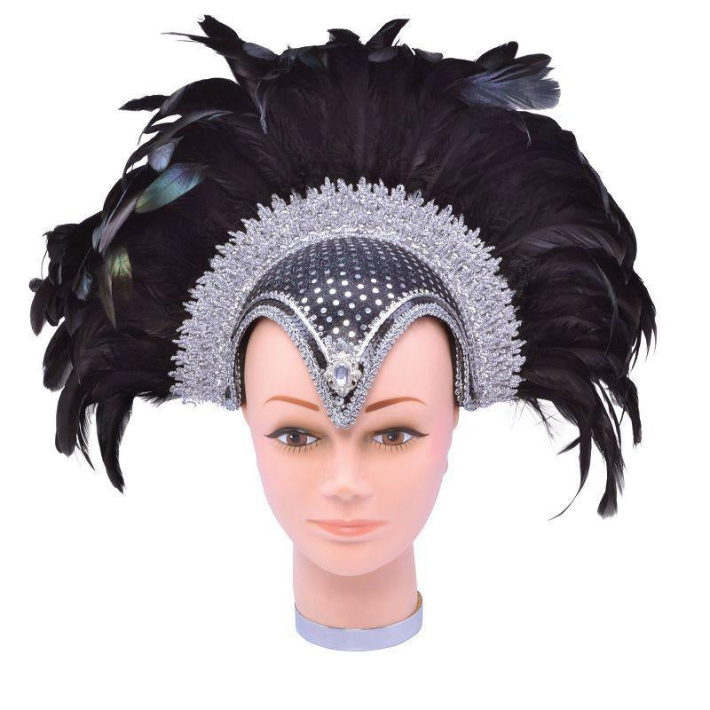 Womens Feather Helmet Black Jewel + Plume (Costume Accessories) - Female - One Size Halloween Costume