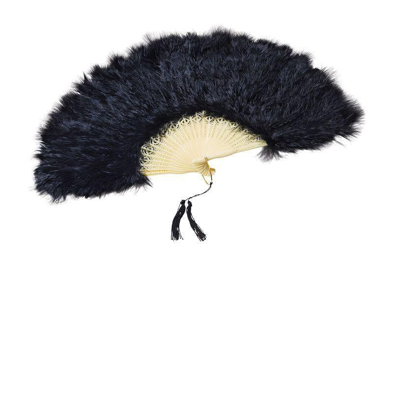 Womens Feather Fan. Black (Costume Accessories) - Female - One Size Halloween Costume