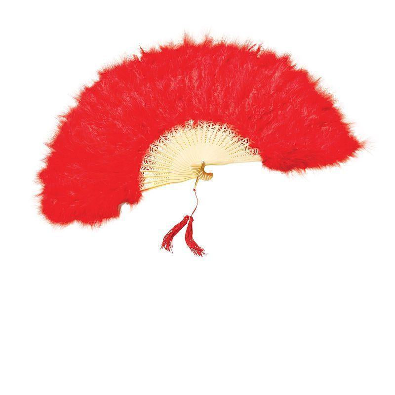 Womens Feather Fan. Red (Costume Accessories) - Female - One Size Halloween Costume