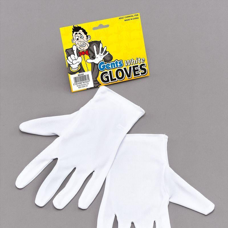 Mens Gloves. White Magicians (Costume Accessories) - Male - One Size Halloween Costume