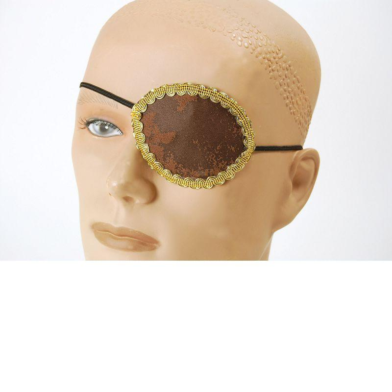 Pirate Brown Eye Patch + Gold Trim (Costume Accessories) - Unisex - One Size