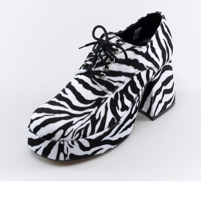 Mens Platform Mens Zebra (Small) Shoes (Costume Accessories) - Male - Small Halloween Costume