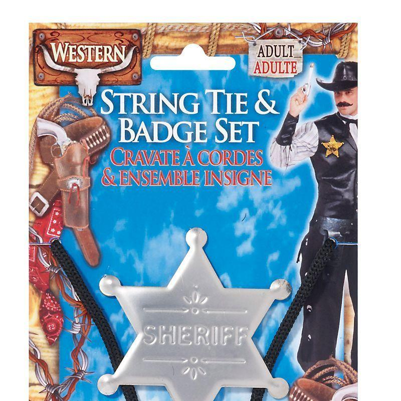 Mens Cowboy String Tie + Badge. (Costume Accessories) - Male - One Size Halloween Costume