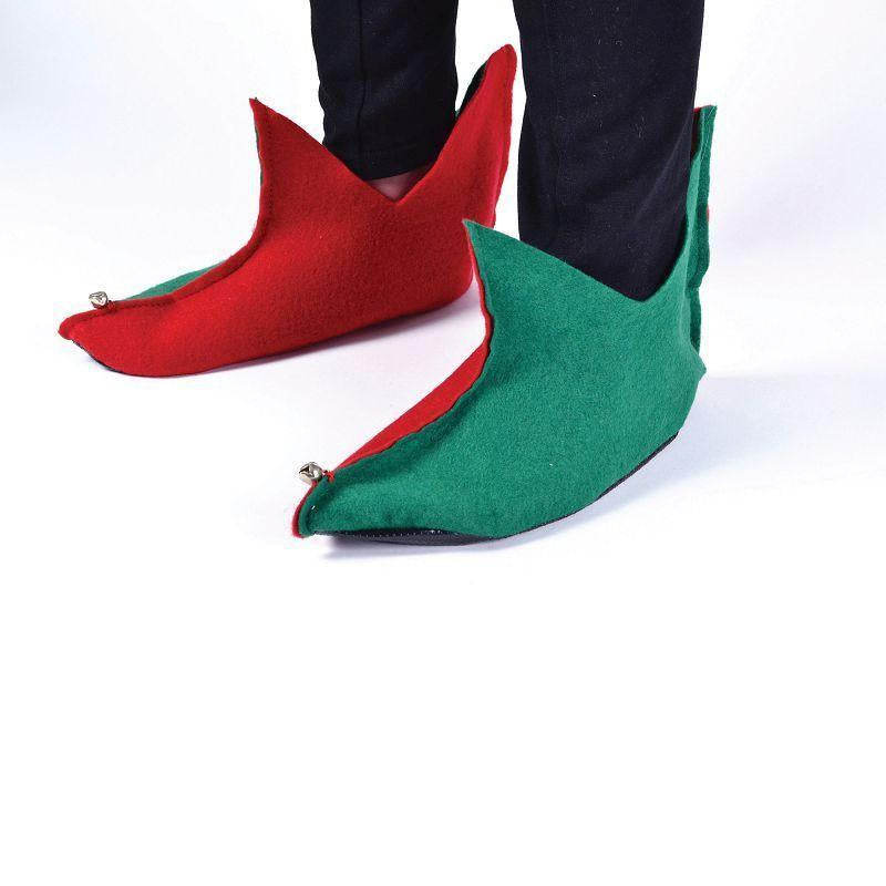 Elf Shoes. Flet. Green/Red (Costume Accessories) - Unisex - One Size