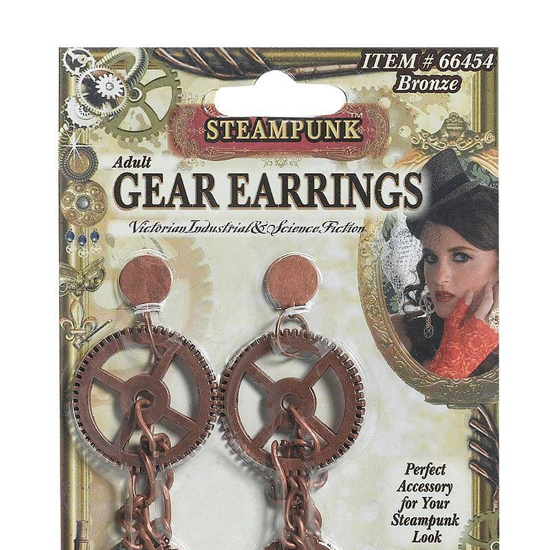 Womens Steampunk Gear Earrings. Brown Costume Accessories - Female - One Size Halloween Costume