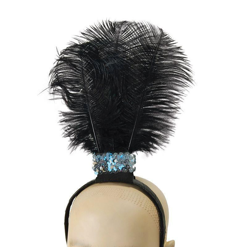 Womens Black Flapper Headband / 3 Feathers (Costume Accessories) - Female - One Size Halloween Costume