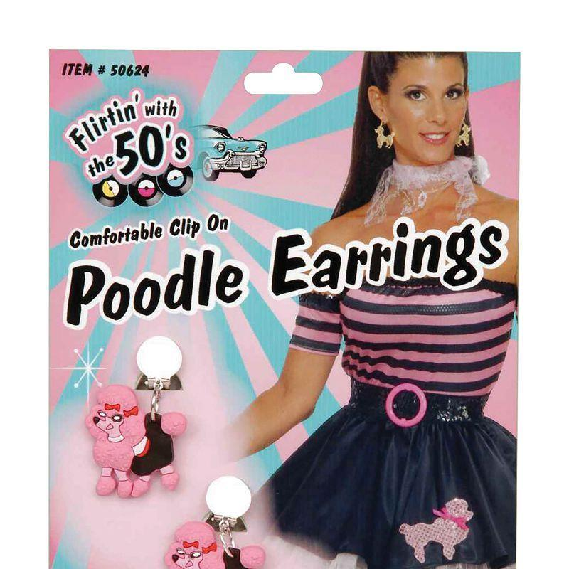 Womens Pink Poodle Earrings (Costume Accessories) - Female - One Size Halloween Costume