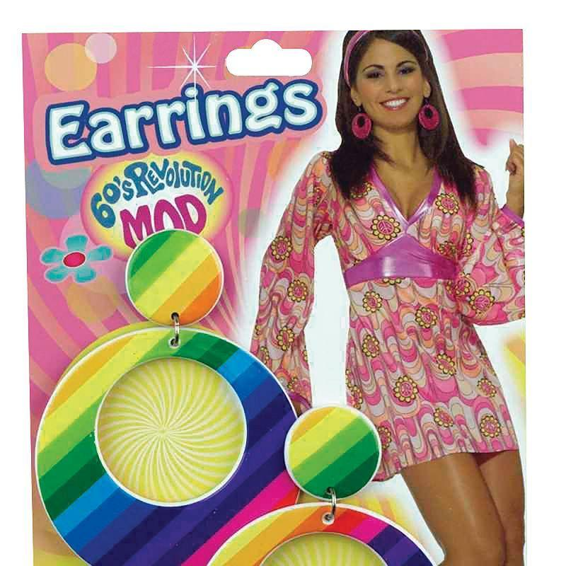 Womens Mod Earrings Rainbow (Costume Accessories) - Female - One Size Halloween Costume
