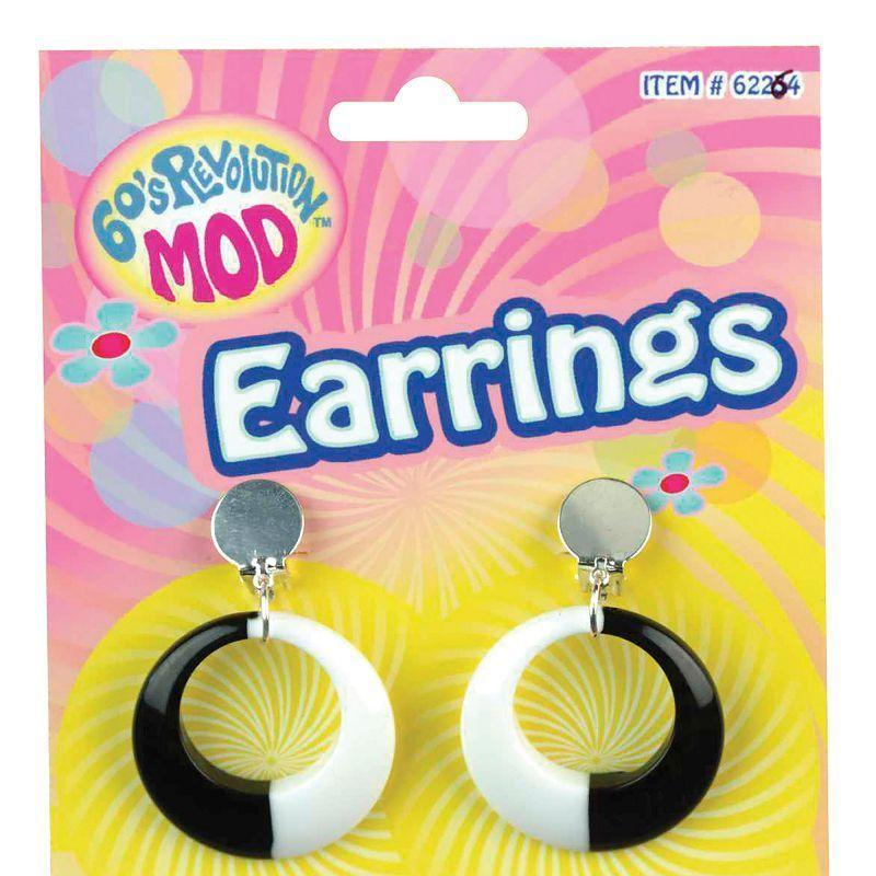 Womens Mod Earrings Black/White (Costume Accessories) - Female - One Size Halloween Costume