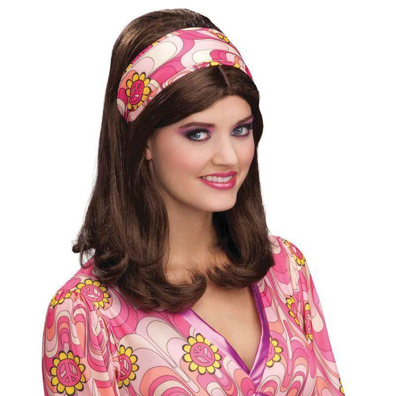 Womens Flower Power Headband. Pink Costume Accessories - Female - One Size Halloween Costume