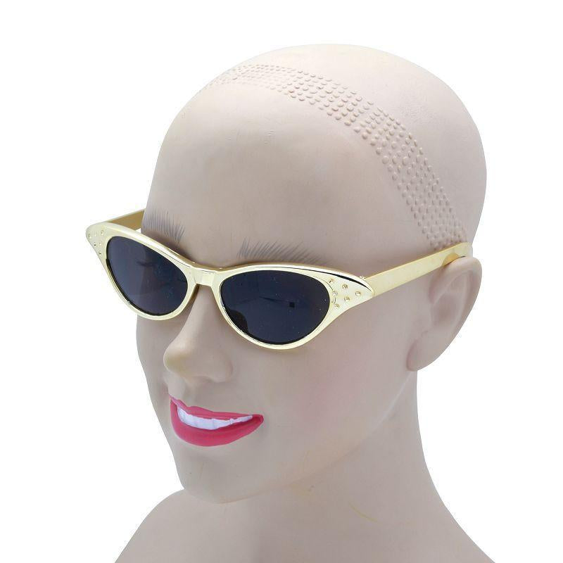 Womens Sunglasses. 50s Gold Metallic (Costume Accessories) - Female - One Size Halloween Costume