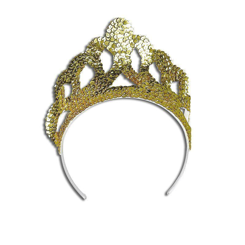 Womens Tiara. Sequin Gold Large (Costume Accessories) - Female - Large Halloween Costume