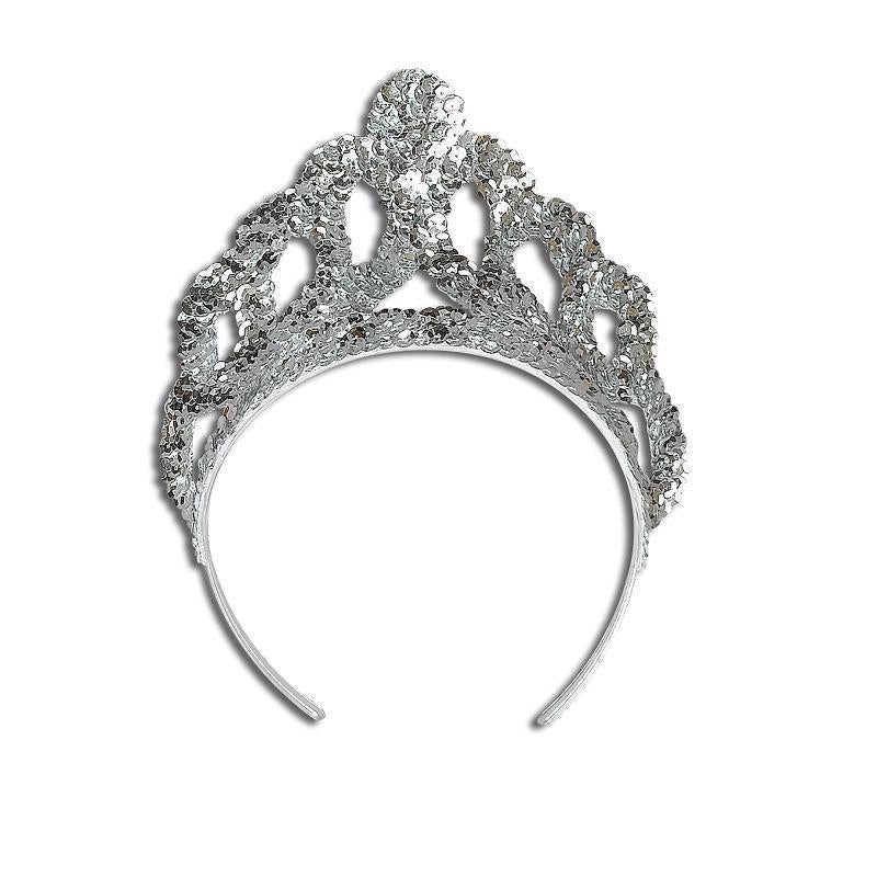 Womens Tiara. Sequin Silver Large (Costume Accessories) - Female - Large Halloween Costume