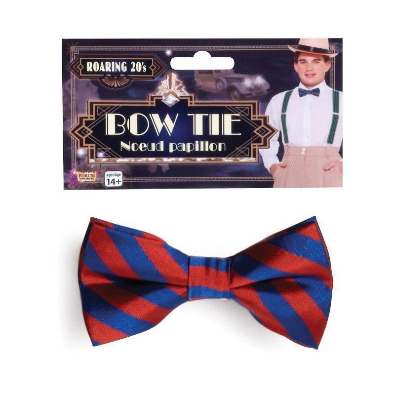 Mens Bow Tie Sriped Red/Blue (Costume Accessories) - Male - One Size Halloween Costume