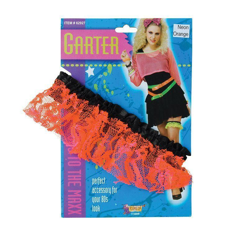 Womens 80s Neon Lace Garter. Orange (Costume Accessories) - Female - One Size Halloween Costume