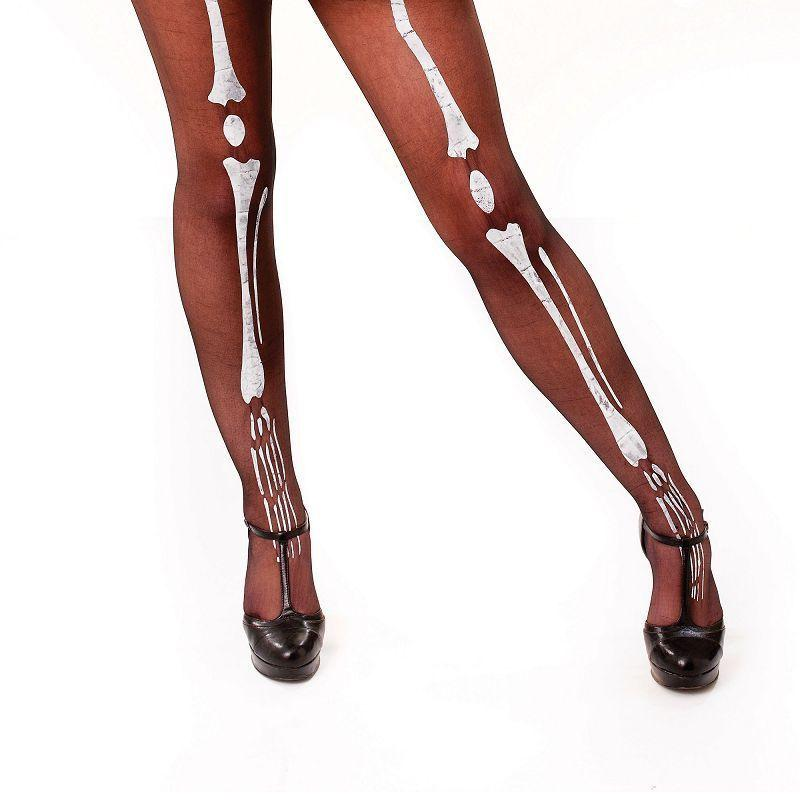 Womens Black Tights / Bone Printing (General Accesories) - Female - One Size Halloween Costume