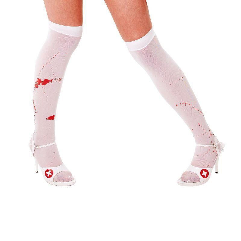 Womens White Stockings + Blood Stains (General Accesories) - Female - One Size Halloween Costume