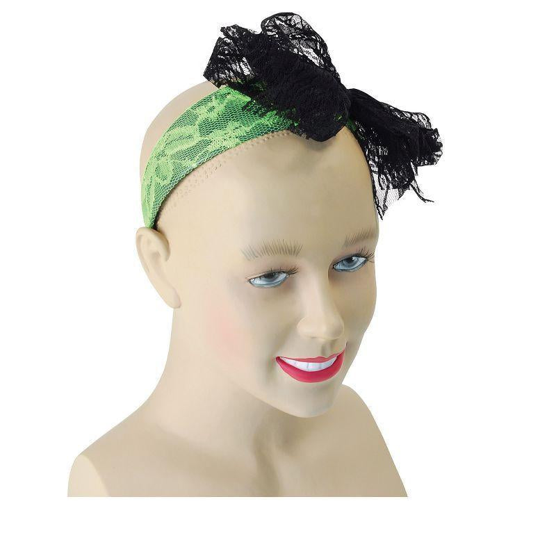 Womens 80s Neon Lace Headband. Green (Costume Accessories) - Female - One Size Halloween Costume