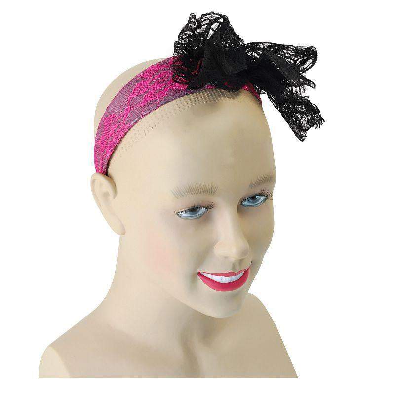 Womens 80s Neon Lace Headband. Pink (Costume Accessories) - Female - One Size Halloween Costume
