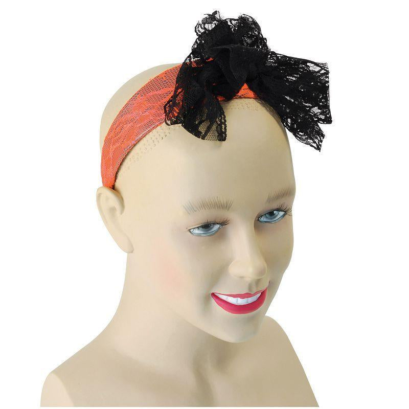Womens 80s Neon Lace Headband. Orange (Costume Accessories) - Female - One Size Halloween Costume