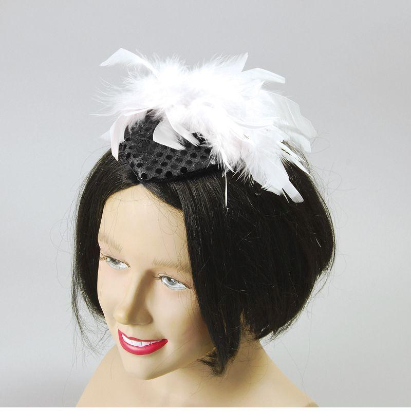 Lady's Hat Black Sequin + Feather (Costume Accessories) - Female - One Size
