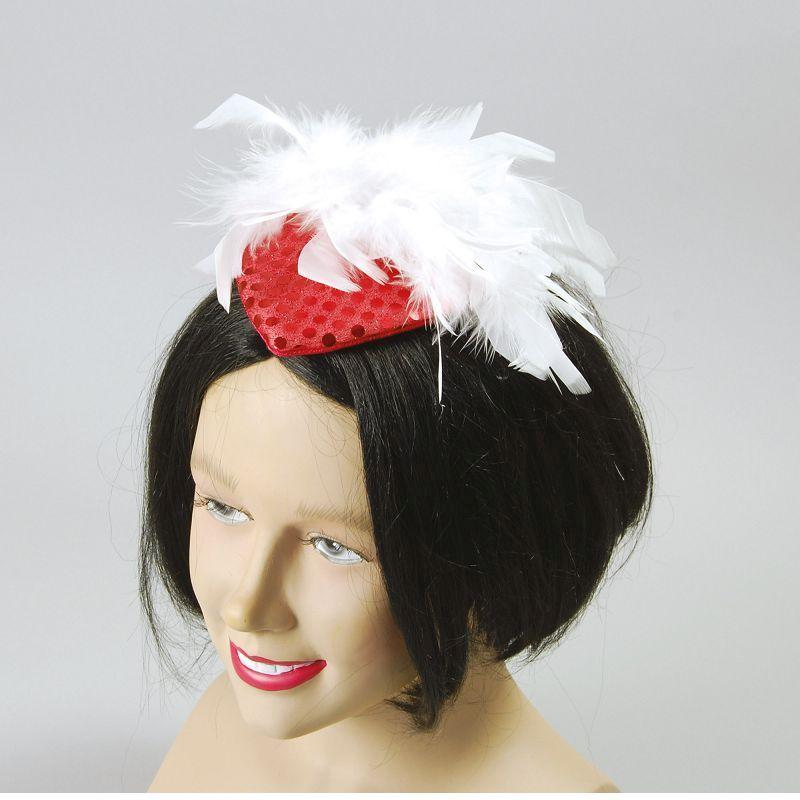 Womens Ladys Hat Red Sequin & Feather (Costume Accessories) - Female - One Size Halloween Costume