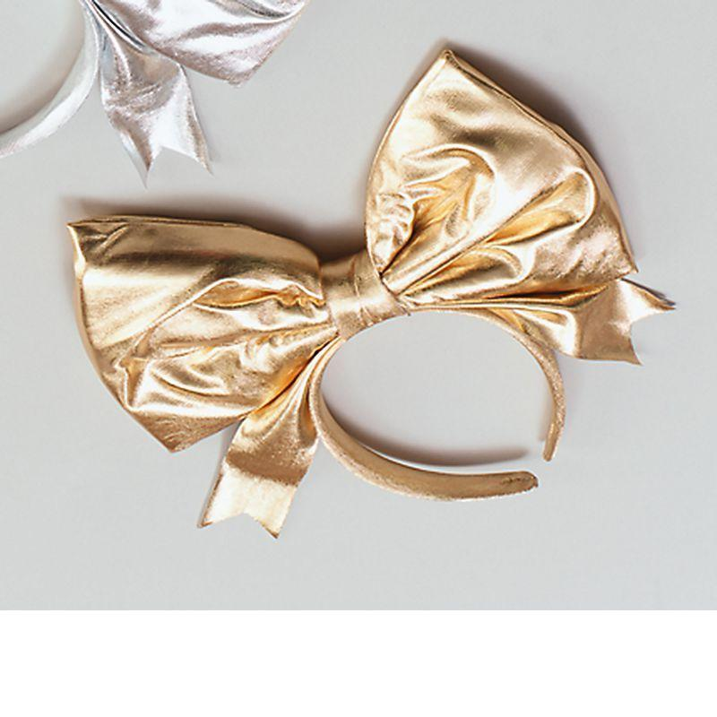 Womens Bow On Headband, Gold (Costume Accessories) - Female - One Size Halloween Costume