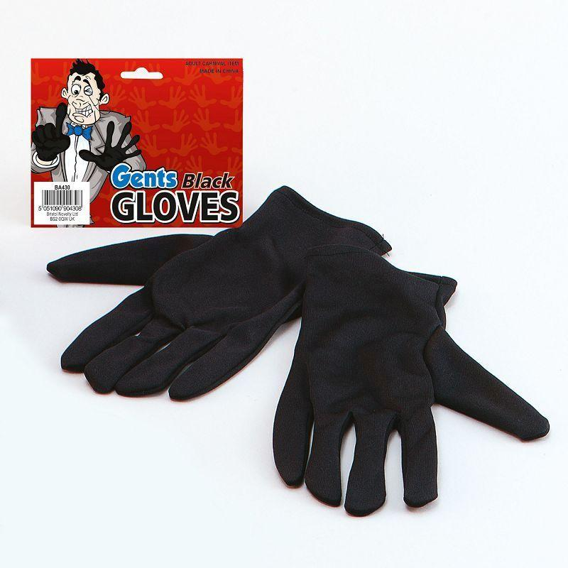 Mens Gloves. Gents Black (Costume Accessories) - Male - One Size Halloween Costume