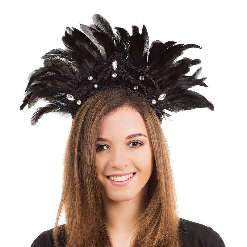 Womens Carnival Headdress. Black Feather (Costume Accessories) - Female - One Size Halloween Costume